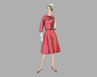 1961 Misses One-Piece Dress and Jacket Pattern Simplicity 3775 Bust 40 inches Raglan sleeve jacket, A line skirt, Boat neck dress, Complete