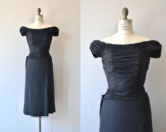 Dello cocktail dress | vintage 1950s dress | black 50s party dress