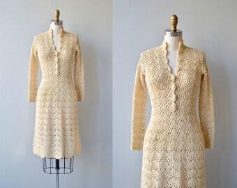 Spinneret crochet dress | vintage 1970s crochet dress | cream crochet 70s dress