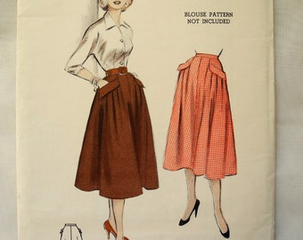 Vintage Butterick 6731, printed sewing pattern, 1950s, flared four gore skirt, uncut, waist 24""