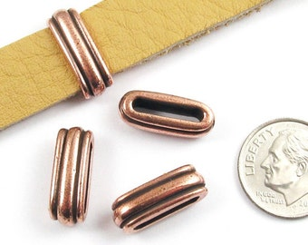 TierraCast Leather Cord Pewter Beads-Copper DECO SLIDE ID 12x2mm (4)