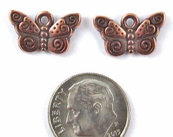 TierraCast Pewter Charms-Copper SPIRAL BUTTERFLY (2)