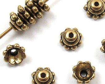 TierraCast Pewter Bead Caps-GOLD BEADED 5mm (10)
