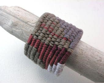 red gray and walnut cuff multi weave extra wide tapestry cotton bracelet fishtail weave string cuff 4129