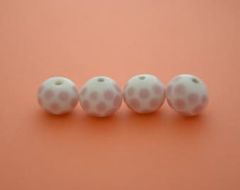 Large POLK A DOT Pink and White Ceramic Beads