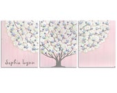 Reserved Listing - Custom Nursery Wall Art Personalized - Pink and Gray Baby Girl Tree Painting - Large 50x20