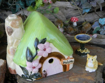Thatched Roof  Fairy  house - Ceramic Glazed  Gnomes  are always welcome to live here Spring Cottage