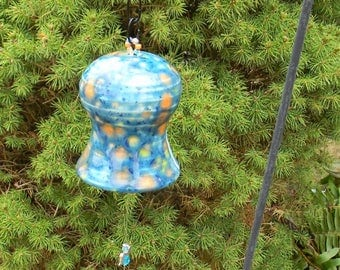 Wind Bells Ceramic   Wind Chimes  in  turquoise orange  garden  decoration   - windchimes  Beads and angel