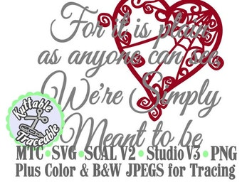 Jack & Sally Valentine Simply Meant to Be with Heart Set #02 Haunted Mansion  Cut Files MTC SVG SCAL and more File Format