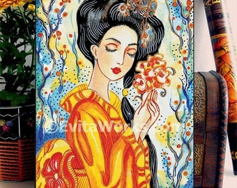 Geisha Japanese Girl Asian Woman Painting, home decor wall decor woman art, ACEO wood block, ABDG