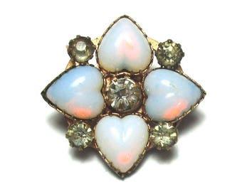 Opal Glass Rhinestone Heart Pin 1910