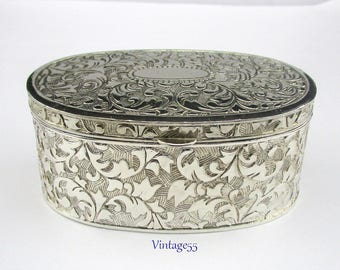 Vintage Jewelry Casket Box Silver Plated 1970