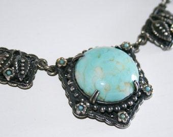 Aqua Czech Glass Necklace