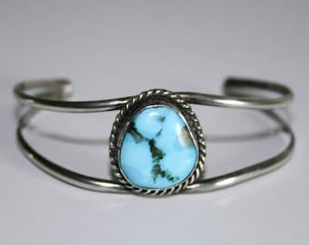 Sterling Silver Turquoise Cuff Bracelet Adjustable