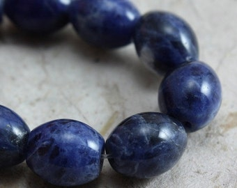 SALE 15% OFF Sodalite Beads Oval 10mm x 8mm - 10 beads