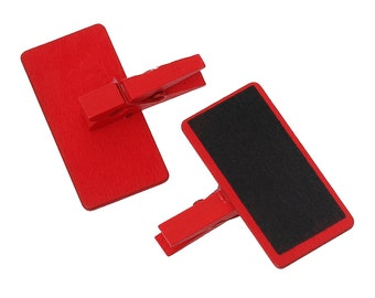 6 Mini RED Chalkboard/BlackBoard Signs with Clip On Clothespin  - Set of 6