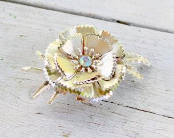 1960s Rhinestone Flower Brooch Pin Silver Tone Vintage Large