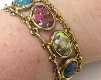 Colorful Jeweled Gold Tone Bracelet Vintage 1960s