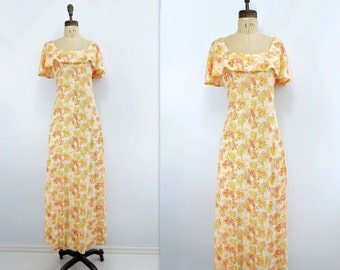 1970s Maxi Dress Floral Maxi Dress Vintage Maxi Dress 70s Pink Floral Maxi Bell Sleeve Dress Yellow Orange Floral Summer Maxi Dress s