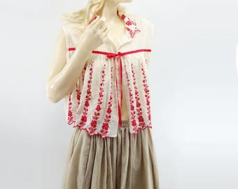 Scarlet Wisteria 60s Babydoll Blouse Boho Crop Top Embroidered Top Vintage Tent Top 60s Smock Top Red White Blouse White Crop Top one  size