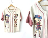 vintage oversized BETTY BOOP t shirt DIstressed Button Down Jersey Style sweatshirt Tee Baggy Cartoon Character Tshirt Womens Large