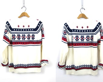 Ski Sweater 1970s Sweater Preppy Knit Blue White Red Raglan Sweater Retro Holiday Pullover Preppy Boho Vintage Size Large