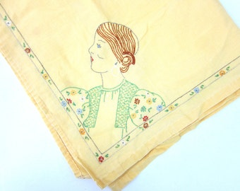 Vintage Embroidered Card tablecloth 4 Women Embroidery Yellow Tea Time Home Decor Cottage Chic Dell's