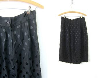 Black Polka Dot Skirt 80s Pencil Skirt Modern Straight Rayon Acetate Midi Skirt Basic High Waist Polka Dotted Suit Skirt Womens Size Medium