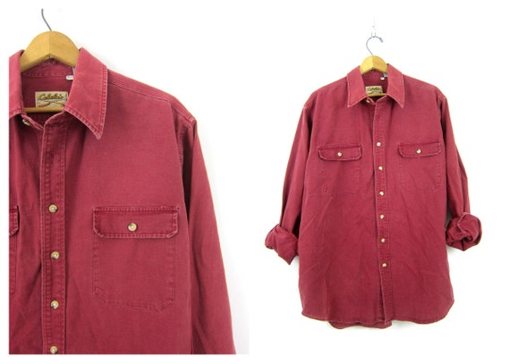 Rugged Denim Camping Shirt Vintage Faded Washed out Red Jean shirt Boyfriend Button Down tomboy Collar Pocket shirt Men's Size XL Tall