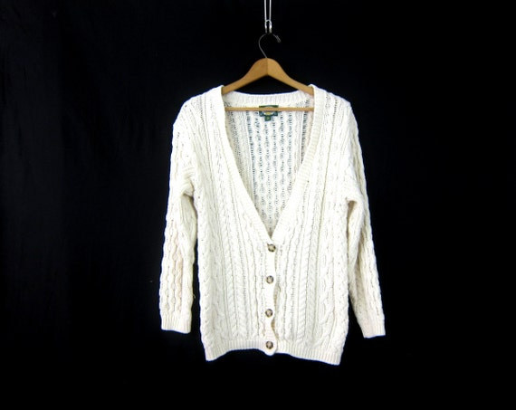 Loose Knit Cardigan White Sweater 1990s Cotton Knit Button Down Cable Knit Sweater Minimal Chic Sweater Vintage women's Small