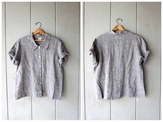 Vintage Linen Blouse with FISH BUTTONS Oversized Minimal Top Button up Modern Shirt Gray Black White Linen Tee DES Womens Medium Large