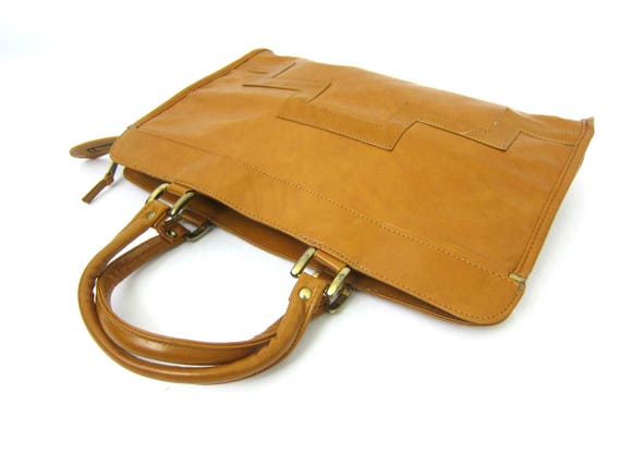 1960s Handbag Top Handle Briefcase Purse Mid Century Retro Modern Tan Brown Purse Faux Leather Purse