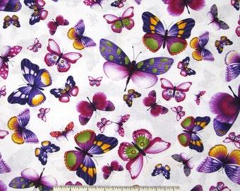 Butterfly Fabric - Viola Purple Jewel Tone on White  - Timeless Treasures YARD