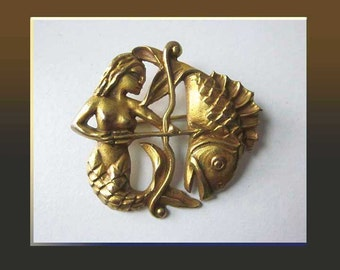 Deco DARLING,Bronze Doré MERMAID Brooch,Designer Su Sica,Manufactured by Arthus Bertrand,Paris,Vintage Jewelry,Women