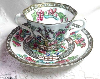 Coalport Indian Tree Cream Soup Bowl & Saucer - Indian Tree Pattern Pink Green Aqua England  - Bone China - Special Gift for Mother's Day!