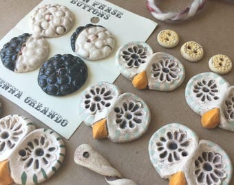 SALE - Lot of Buttons - Handmade Ceramic Buttons - Night Owls