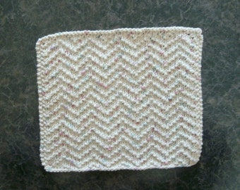 Hand Knit Cotton Dishcloth - measures approximately 81/2x91/2 inches