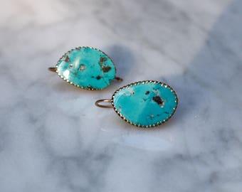 ANTIQUE EDWARDIAN TURQUOISE 14k rosegold pierced drop dangle earrings circa 1910s