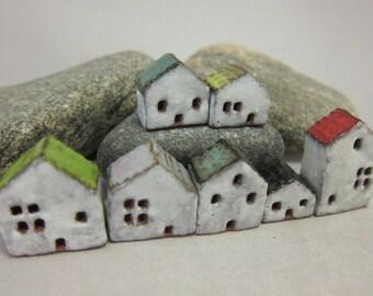 Lucky Seven...Miniature Stoneware House from elukka