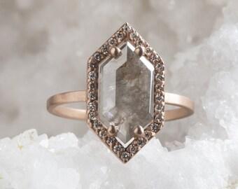 Natural Grey Rose Cut Hexagon Diamond Ring with Pavé Halo