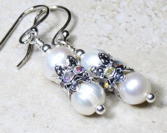 White Freshwater Pearl Earrings, White Pearl Drop Earrings, Pearl and Rhinestone Earrings, Bridal Pearl Earrings