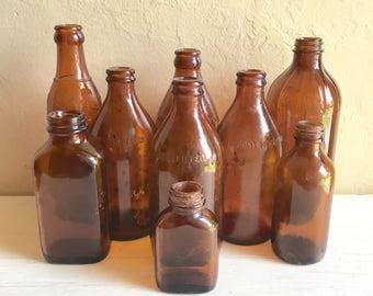Instant Collection of Vintage Antique Amber Brown Glass Bottles