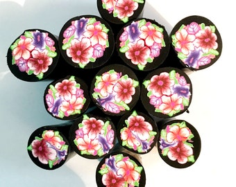 Single Fimo polymer clay millefiori flower flowers cane nail art by myfiori