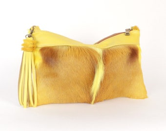 Yellow Springbok Bag ~ Yellow Fur - Bright Yellow Fur Bag ~Yellow Leather HANDBAG ~ Yellow Fur Bag ~ Yellow Springbok Bag ~ Yellow Crossbody