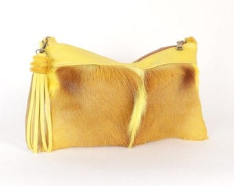 Yellow Fur Handbag