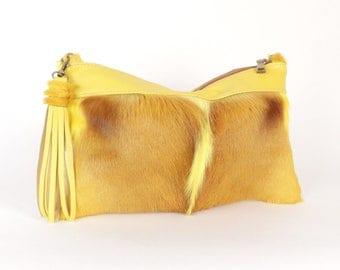 Yellow Fur Handbag