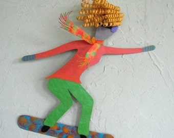 Metal Wall Art Lady Snowboard Sculpture Recycled Metal Sports Decor Blonde Snowboarder 15 x 15