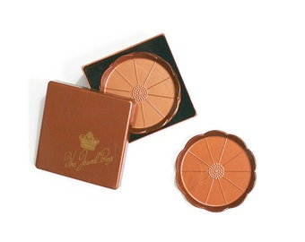 SALE - Vintage Copper Flower Plastic Drink Coasters and Storage Box / The Jewel Box Coasters by Steeds / Mid Century Copper Coasters