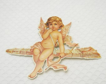 Victorian Valentine Card Cupid on Arrow Greeting Card Unused Card