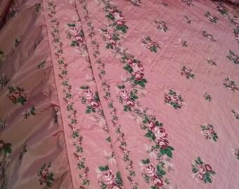 Vintage Printed Bedspread Pink Roses Full/Double